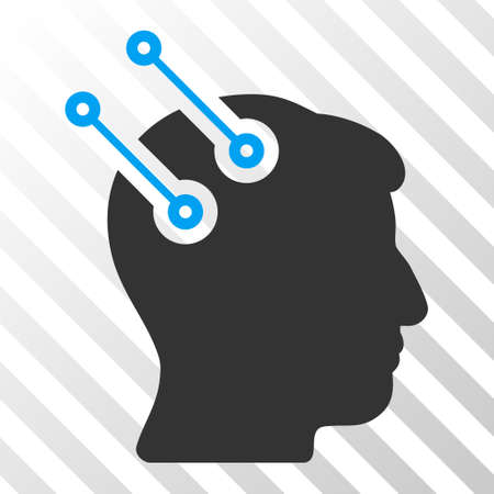 neural: Blue And Gray Neural Interface Connectors interface toolbar pictogram. Vector pictograph style is a flat bicolor symbol on diagonal hatch transparent background. Illustration