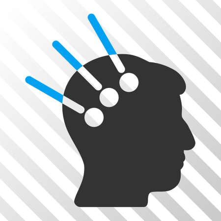 neural: Blue And Gray Neural Interface interface icon. Vector pictograph style is a flat bicolor symbol on diagonal hatch transparent background.