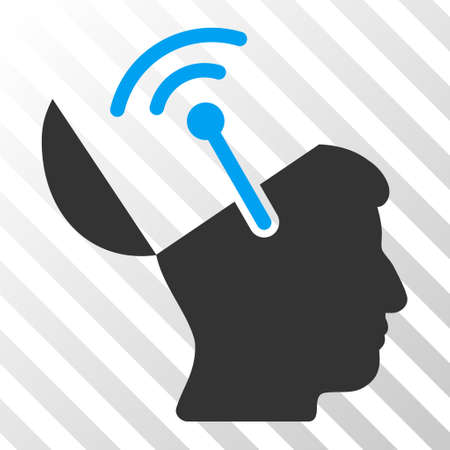 Blue And Gray Open Brain Radio Interface toolbar pictogram. Vector pictogram style is a flat bicolor symbol on diagonal hatch transparent background.