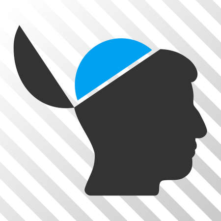 sculp: Blue And Gray Open Brain interface icon. Vector pictogram style is a flat bicolor symbol on diagonal hatch transparent background. Illustration