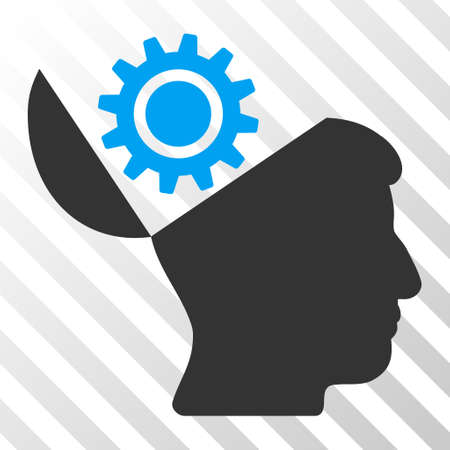 open minded: Blue And Gray Open Head Gear toolbar pictogram. Vector pictogram style is a flat bicolor symbol on diagonal hatch transparent background.