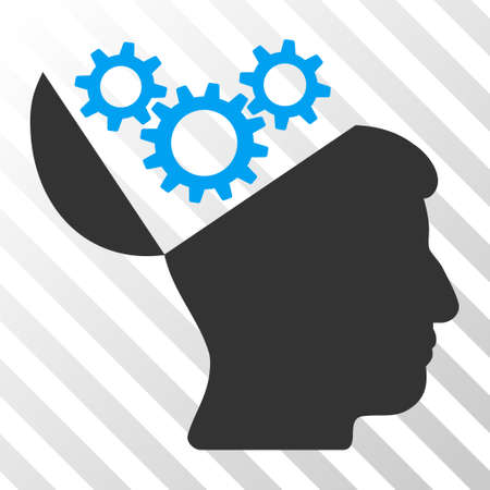 sculp: Blue And Gray Open Mind Gears toolbar icon. Vector pictogram style is a flat bicolor symbol on diagonal hatch transparent background. Stock Photo
