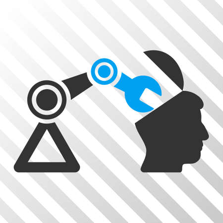 sculp: Blue And Gray Open Head Surgery Manipulator interface toolbar pictogram. Vector pictogram style is a flat bicolor symbol on diagonal hatch transparent background.