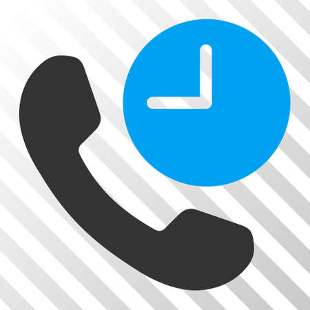 phone time: Blue And Gray Phone Time interface toolbar pictogram. Vector pictogram style is a flat bicolor symbol on diagonal hatch transparent background. Illustration