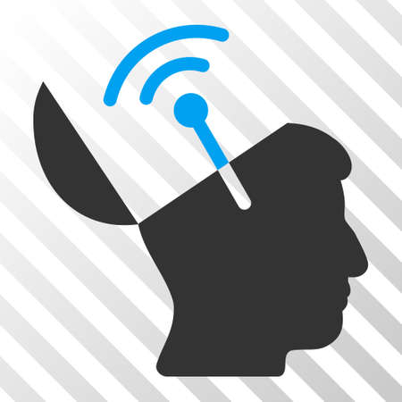 Blue And Gray Open Mind Radio Interface toolbar icon. Vector pictogram style is a flat bicolor symbol on diagonal hatch transparent background.