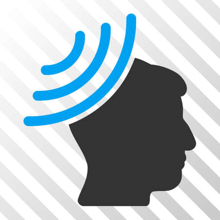 representations: Blue And Gray Radio Reception Mind toolbar icon. Vector pictograph style is a flat bicolor symbol on diagonal hatch transparent background.