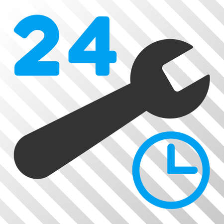 nonstop: Blue And Gray Service Hours interface toolbar pictogram. Vector pictograph style is a flat bicolor symbol on diagonal hatch transparent background.