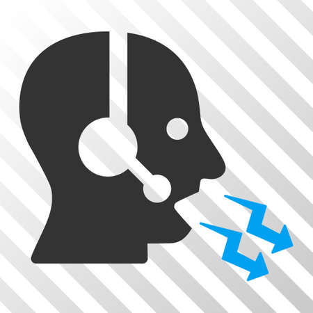 phone and call: Blue And Gray Operator Shout interface toolbar pictogram. Vector pictogram style is a flat bicolor symbol on diagonal hatch transparent background.