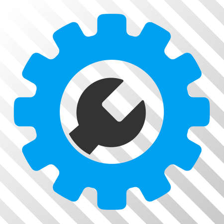 Blue And Gray Service Tools interface toolbar pictogram. Vector pictogram style is a flat bicolor symbol on diagonal hatch transparent background. Illustration