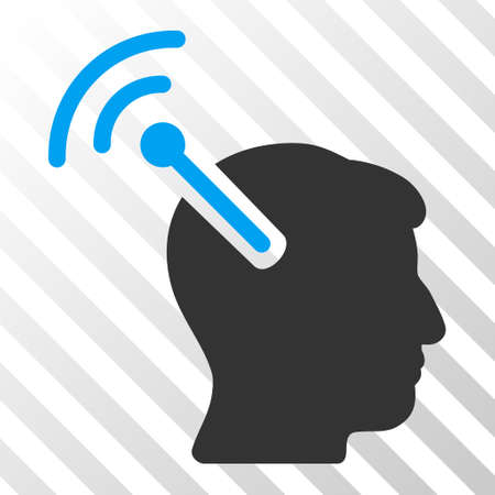 neuroscience: Blue And Gray Radio Neural Interface interface pictogram. Vector pictograph style is a flat bicolor symbol on diagonal hatch transparent background.