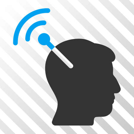 neural: Blue And Gray Radio Neural Interface interface icon. Vector pictogram style is a flat bicolor symbol on diagonal hatch transparent background.
