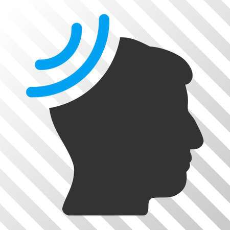 recipient: Blue And Gray Radio Reception Brain toolbar pictogram. Vector pictograph style is a flat bicolor symbol on diagonal hatch transparent background.