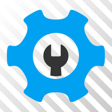 Blue And Gray Service Tools toolbar pictogram. Vector pictograph style is a flat bicolor symbol on diagonal hatch transparent background.