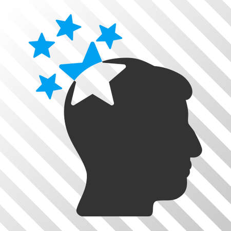ruch: Blue And Gray Stars Hit Head toolbar pictogram. Vector pictograph style is a flat bicolor symbol on diagonal hatch transparent background.