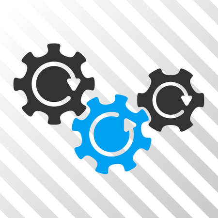 gear box: Blue And Gray Transmission Gears Rotation interface icon. Vector pictograph style is a flat bicolor symbol on diagonal hatch transparent background.