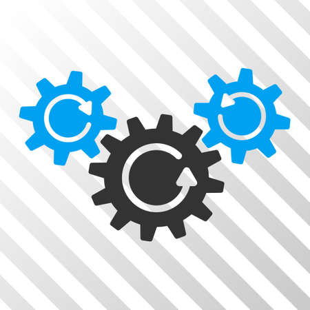 gear box: Blue And Gray Transmission Wheels Rotation toolbar pictogram. Vector pictograph style is a flat bicolor symbol on diagonal hatch transparent background.