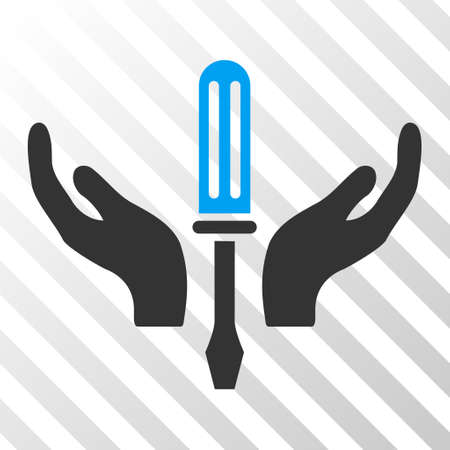 Blue And Gray Tuning Screwdriver Maintenance toolbar pictogram. Vector pictogram style is a flat bicolor symbol on diagonal hatch transparent background.