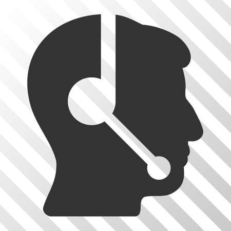 talker: Gray Call Center Operator interface toolbar icon. Vector pictograph style is a flat symbol on diagonal hatch transparent background.