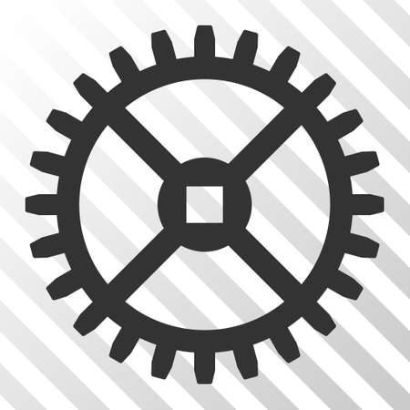 Gray Clock Gear interface pictogram. Vector pictogram style is a flat symbol on diagonal hatch transparent background. Illustration