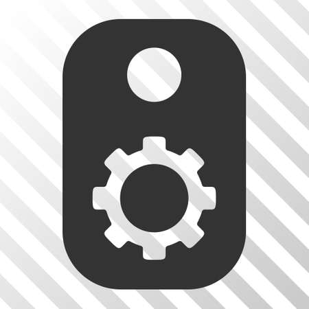technical term: Gray Gear Tag toolbar icon. Vector pictogram style is a flat symbol on diagonal hatch transparent background. Illustration