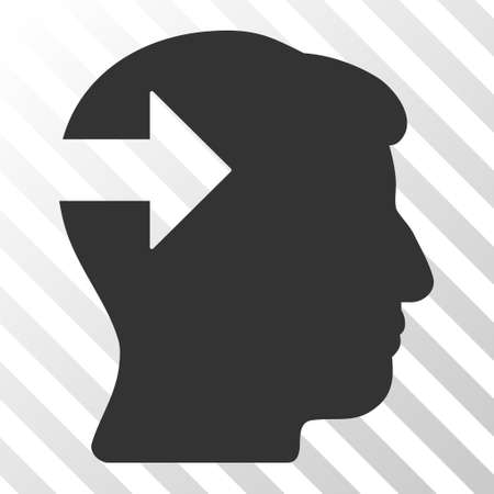 plugin: Gray Head Plug-In Arrow interface toolbar pictogram. Vector pictograph style is a flat symbol on diagonal hatch transparent background.