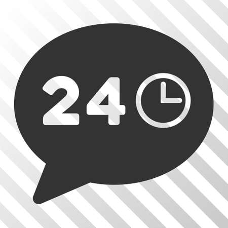 nonstop: Gray Message Hours interface pictogram. Vector pictogram style is a flat symbol on diagonal hatch transparent background.