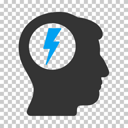 descarga electrica: Blue And Gray Brain Electric Shock interface pictogram. Vector pictograph style is a flat bicolor symbol on chess transparent background.
