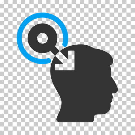 plugin: Blue And Gray Brain Interface Plug-In interface toolbar pictogram. Vector pictograph style is a flat bicolor symbol on chess transparent background.