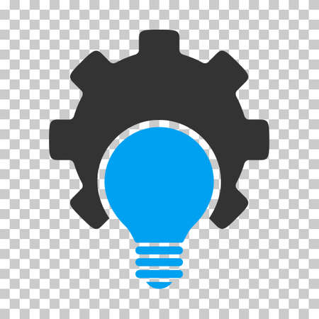 gray bulb: Blue And Gray Bulb Configuration Gear interface pictogram. Vector pictograph style is a flat bicolor symbol on chess transparent background. Illustration