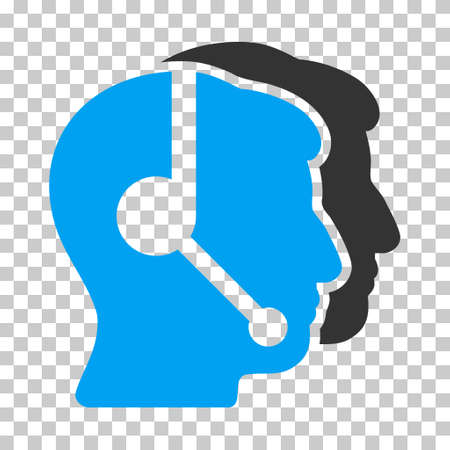 operators: Blue And Gray Call Center Operators toolbar icon. Vector pictograph style is a flat bicolor symbol on chess transparent background.