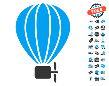 air baloon: Aerostat Balloon icon with free bonus images. Vector illustration style is flat iconic symbols, blue and gray colors, white background.