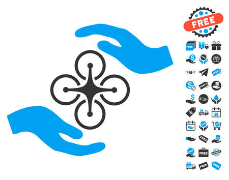 Air Copter Care Hands pictograph with free bonus design elements. Vector illustration style is flat iconic symbols, blue and gray colors, white background. Illustration