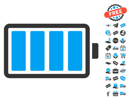 lithium: Battery pictograph with free bonus pictograph collection. Vector illustration style is flat iconic symbols, blue and gray colors, white background. Illustration