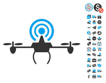 repeater: Wifi Repeater Drone pictograph with free bonus pictograms. Vector illustration style is flat iconic symbols, blue and gray colors, white background. Illustration