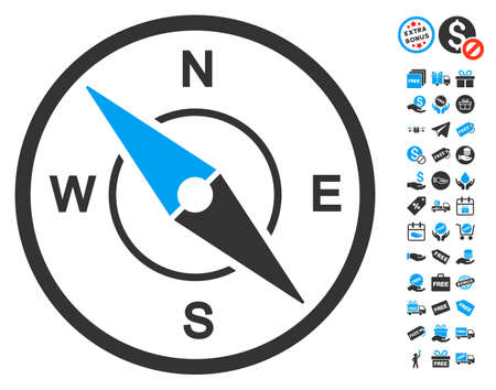 Compass icon with free bonus pictograms. Vector illustration style is flat iconic symbols, blue and gray colors, white background.