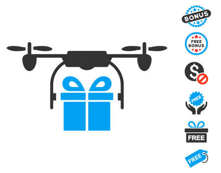 airflight: Drone Gift Delivery icon with free bonus pictograph collection. Vector illustration style is flat iconic symbols, blue and gray colors, white background.