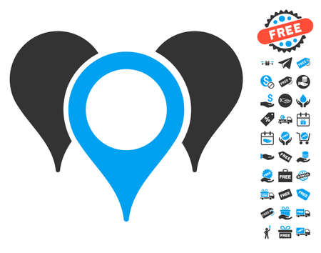 map pointers: Map Pointers pictograph with free bonus icon set. Vector illustration style is flat iconic symbols, blue and gray colors, white background. Illustration