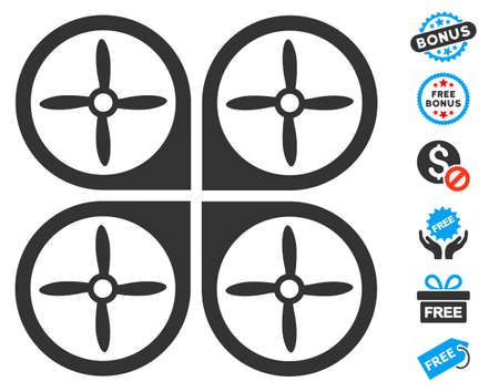 airflight: Nanocopter icon with free bonus images. Vector illustration style is flat iconic symbols, blue and gray colors, white background. Illustration