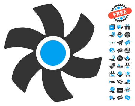 rotor: Rotor icon with free bonus pictograms. Vector illustration style is flat iconic symbols, blue and gray colors, white background.