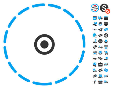 zonal: Round Area pictograph with free bonus pictures. Vector illustration style is flat iconic symbols, blue and gray colors, white background.