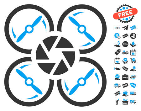 remote view: Shutter Drone pictograph with free bonus graphic icons. Vector illustration style is flat iconic symbols, blue and gray colors, white background.