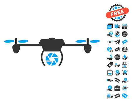 Shutter Spy Airdrone icon with free bonus pictograph collection. Vector illustration style is flat iconic symbols, blue and gray colors, white background. Illusztráció
