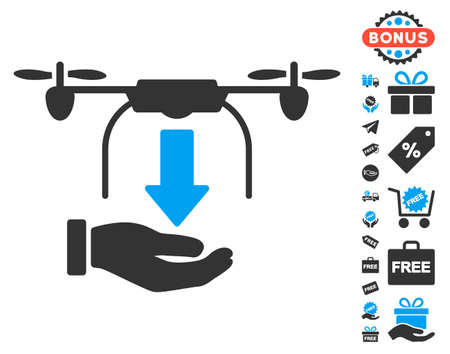 drop down: Unload Drone Hand icon with free bonus clip art. Vector illustration style is flat iconic symbols, blue and gray colors, white background.