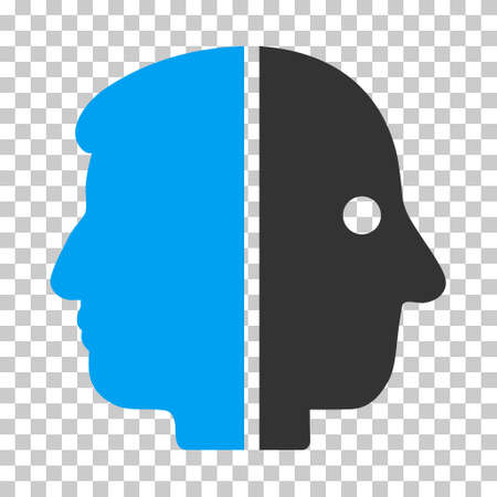dual: Blue And Gray Dual Face interface pictogram. Vector pictogram style is a flat bicolor symbol on chess transparent background.