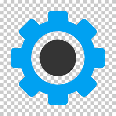 Blue And Gray Gear interface toolbar icon. Vector pictograph style is a flat bicolor symbol on chess transparent background.
