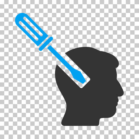 endoscopy: Blue And Gray Head Screwdriver Tuning interface pictogram. Vector pictogram style is a flat bicolor symbol on chess transparent background.