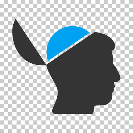 sculp: Blue And Gray Open Brain interface toolbar icon. Vector pictogram style is a flat bicolor symbol on chess transparent background. Illustration