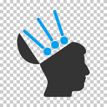 Blue And Gray Open Mind Interface interface pictogram. Vector pictogram style is a flat bicolor symbol on chess transparent background.