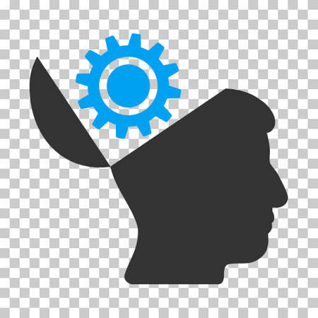 open minded: Blue And Gray Open Head Gear toolbar pictogram. Vector pictograph style is a flat bicolor symbol on chess transparent background.