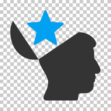open minded: Blue And Gray Open Head Star interface icon. Vector pictograph style is a flat bicolor symbol on chess transparent background.